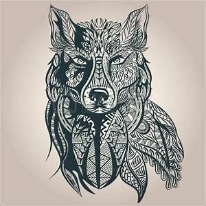 Loup Tatouage Geometrique : ornement pr dateur vintage loup tatouage noir et blanc le style r tro d coratif isolated ~ Melissatoandfro.com Idées de Décoration