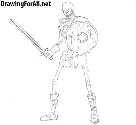 How Draw Skeleton Warrior Drawingforall