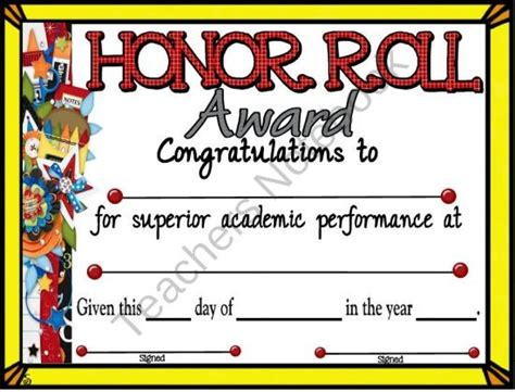 Honor Roll Certificate 5 From A Teacher In Paradise On