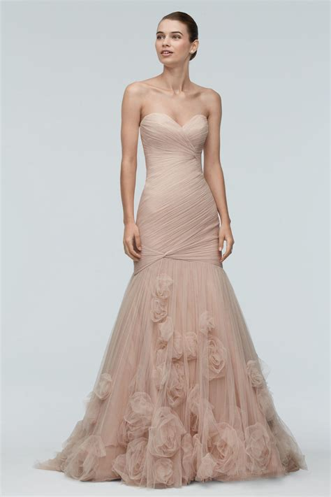 watters brides starla gown  rose gold  rosettes