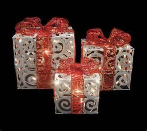 set of 3 sparkling white swirl gift boxes lighted yard decorations ebay