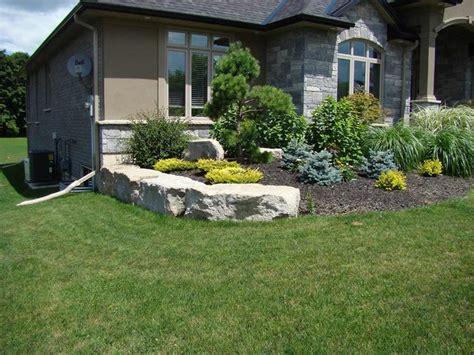 Garden With Armour Stone Retaining Wall