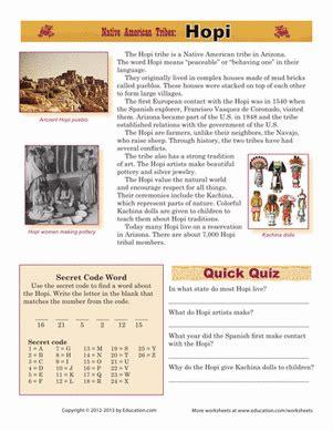 Native American Tribes Hopi  Worksheet Educationcom