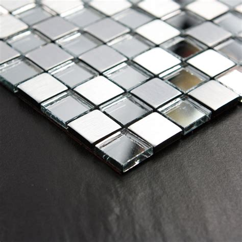 Adhsive Mosaic Tiles Silver Square Peel And Stick Tile