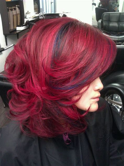Navy Blue Lowlights by Graduated And Bright Rich Reds And Navy Blue