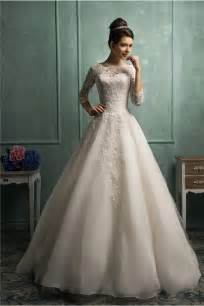 wedding dress 3 4 sleeve gown high neck 3 4 sleeve lace organza wedding dress with buttons