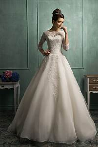 ball gown high neck 3 4 sleeve lace organza wedding dress With 3 4 sleeve lace wedding dress