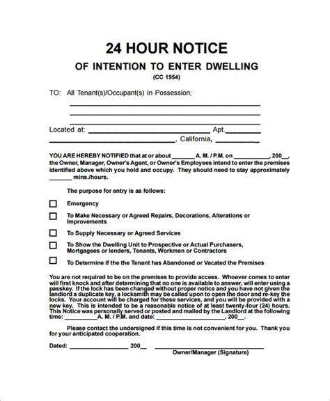 free notice to enter rental property form 22 sle notice letters sle templates