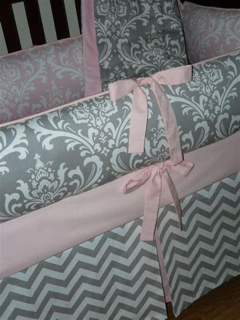 light pink and gray bedding light baby pink gray damask chevron 3pc crib
