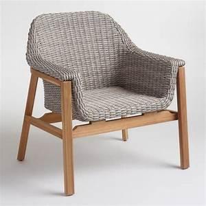 Gray, Wicker, And, Wood, Taormina, Armchair
