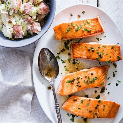 mediterranean kitchen ideas seared salmon with green peppercorn sauce recipe eatingwell