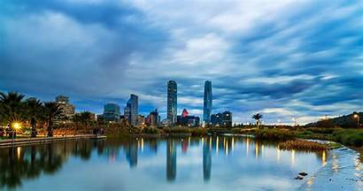Chile Santiago Rivers Evening Houses Sky Cities