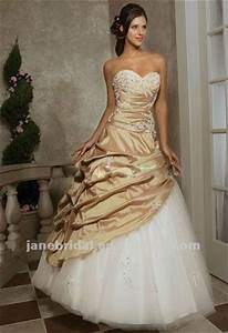 help champagne wedding dress vs red bridesmaid dresses With champagne gold wedding dress