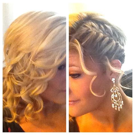 sleek french braid on one side curls on the other side