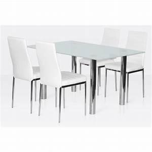 Ensemble Salle Manger 4 Chaises Table En Verre Blanc