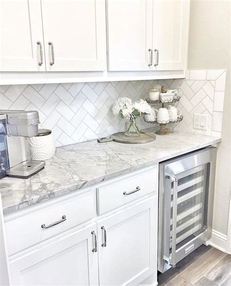 kitchen backsplash tile with white cabinets wine fridge white cabinets grey counters home sweet