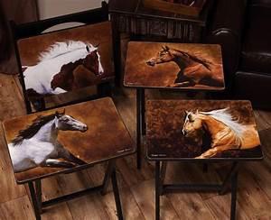 4 Pc QuotDawson Horsequot TV Tray Set 200140 Living Room
