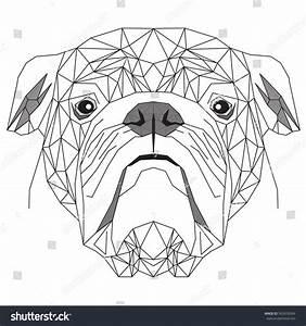 English Bulldog Geometric Dogs Portrait On Stock Vector ...