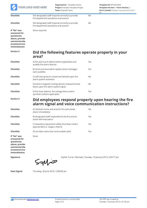 fire drill report template  customise