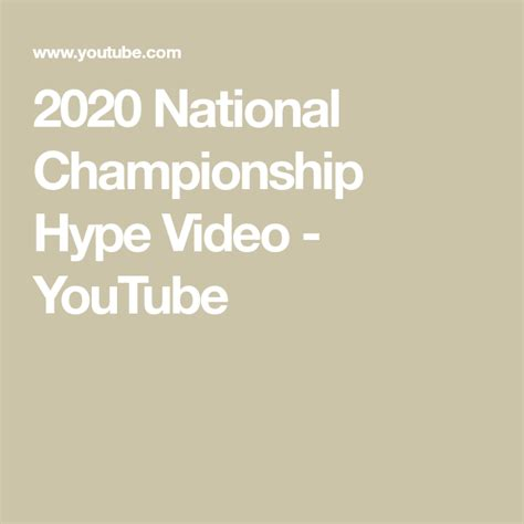 2020 National Championship Hype Video - YouTube in 2020 ...