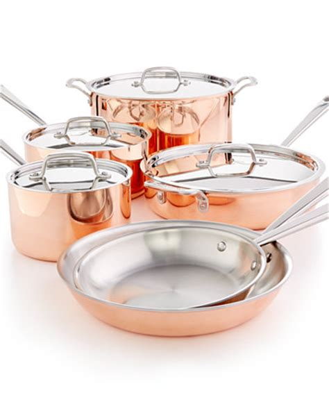 martha stewart collection tri ply copper  pc cookware set   macys cookware sets