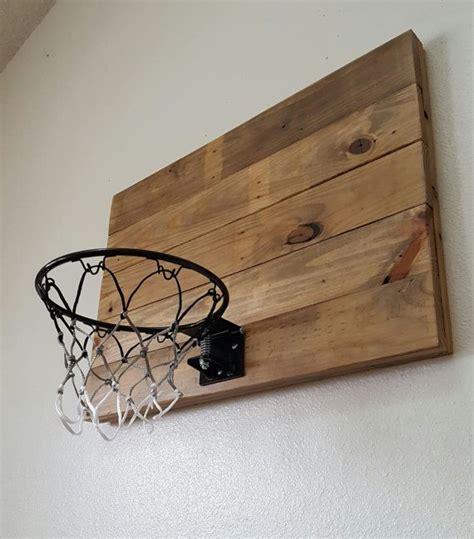 natural wood basketball hoop  orange rim wood indoor