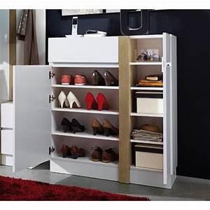 Meuble Chaussure Design : meuble chaussures blanc avec 2 portes et 1 ti achat vente meuble chaussure pas cher ~ Teatrodelosmanantiales.com Idées de Décoration