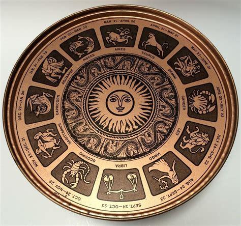 vintage guildcraft  container tin astrology zodiac sun signs copper color zodiac sun