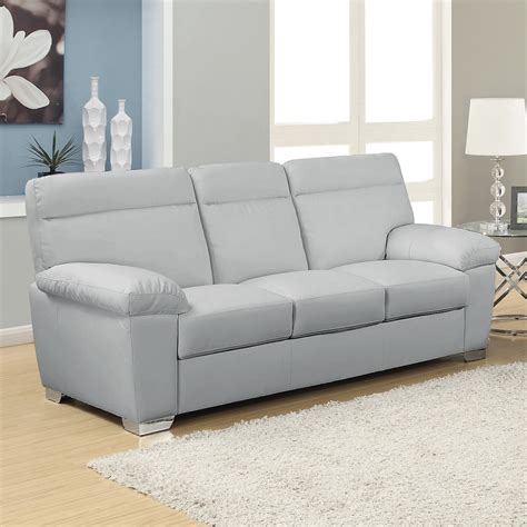Grey Sofa by Alto Italian Inspired High Back Leather Light Grey Sofa