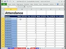 Excel Magic Trick 496 Attendance Sheet with Freeze Pane