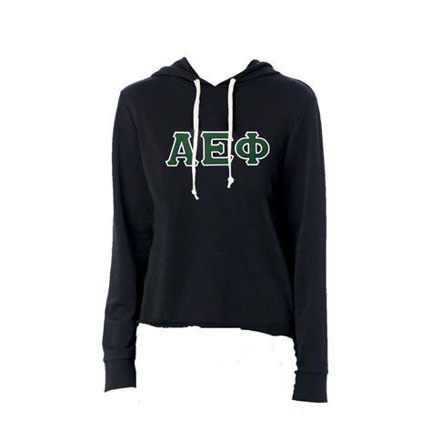 alpha epsilon phi sweatshirt  greek lettered terry hoodie md sorority gifts