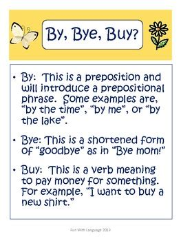homophone practice  scoot game   bye buy commonly
