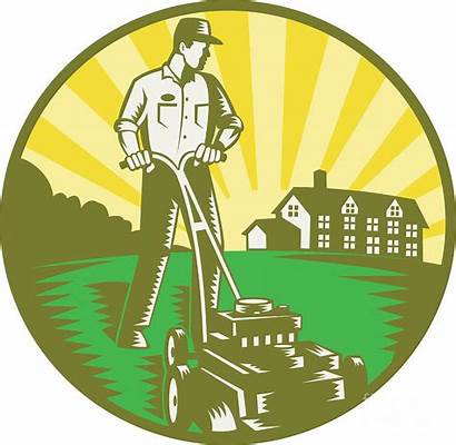 Lawn Mowing Mower Gardener Retro Aloysius Patrimonio