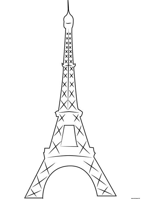 coloriage simple  eiffel de paris en france dessin