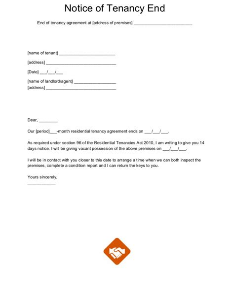 Notice To End Tenancy Template by End Of Tenancy Letter Templates