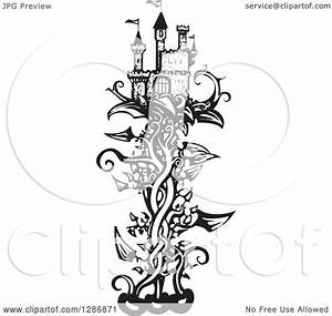 Clipart Of A Black And White Woodcut Fantasy Castle On A