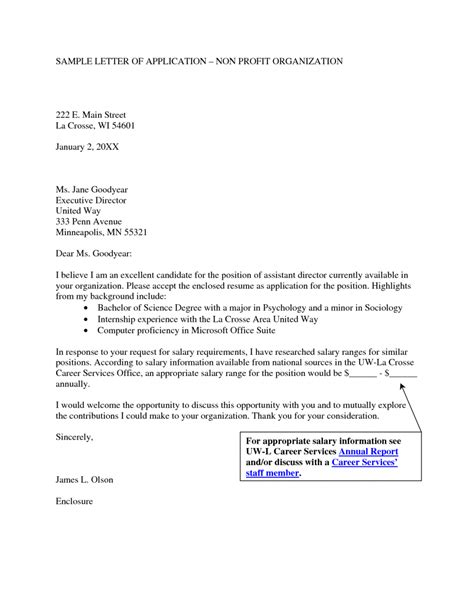 Non Profit Resume Cover Letter by Sle Cover Letter For Non Profit Organization