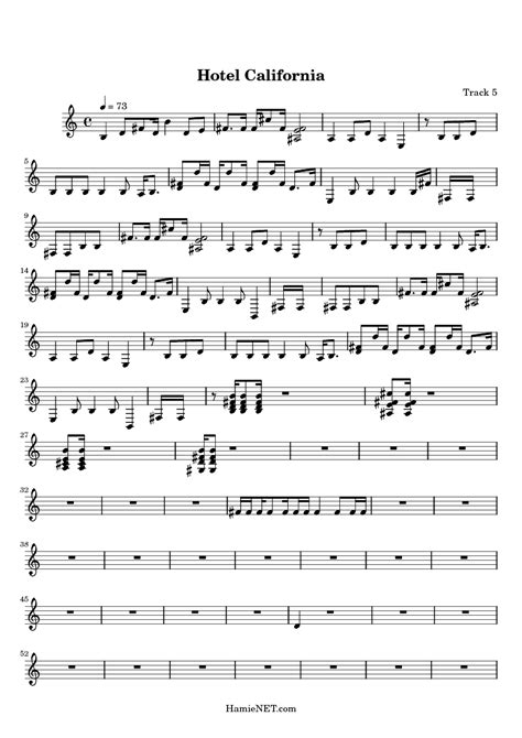 Hotel California Sheet Music  Hotel California Score • Hamienetcom