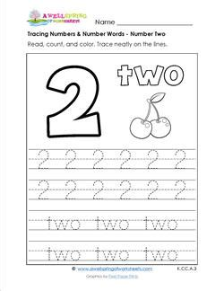 tracing numbers and number words number 2