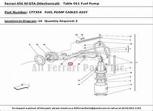 Ferrari Part Number 177354 Fuel Pump Cables Assy