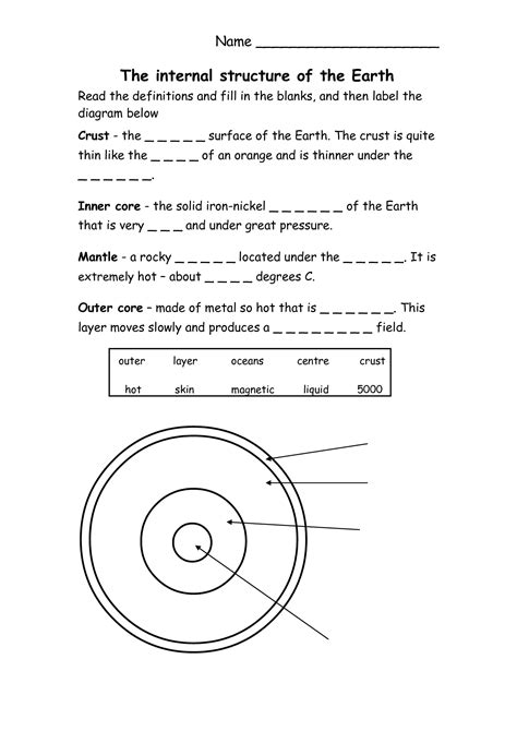 earth interior worksheet www indiepedia org