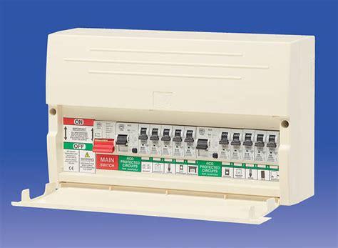 10 way dual split rcd consumer unit 63a rcds c w 10 mcb s