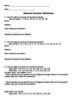Mean Absolute Deviation Worksheet by Aunt B's Hive of