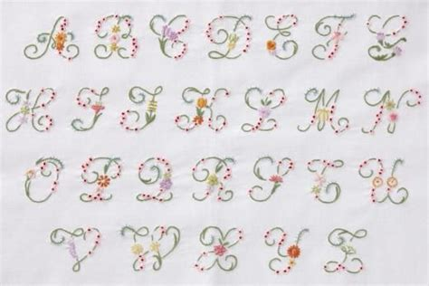 embroidery letters  flowers dmc flower letter alphabet embroidery kit   great