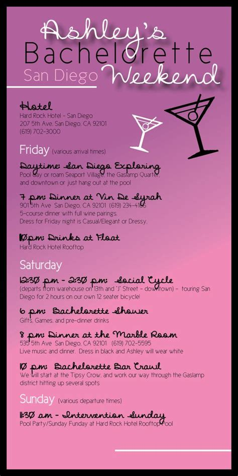 bachelorette party itinerary  madewithloveinvites