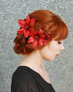 Red Flower Headpiece Floral Clip Set Crimson Hair Clips