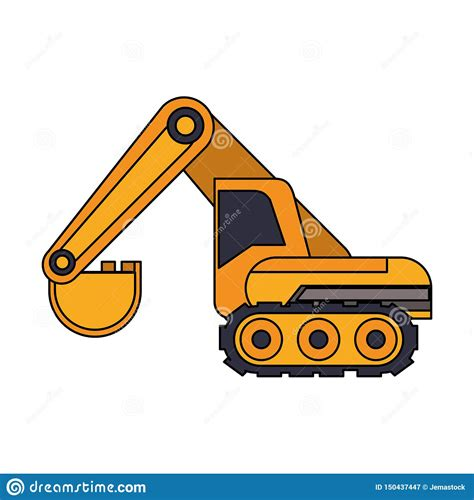 constrution vehicle machinery isolated sideview stock