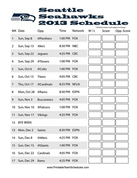 seahawks schedule ideas  pinterest seattle