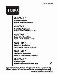 Toro 51556 Quiet Electric 850 Blower Vacuum Owners Manual