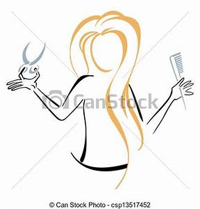 Clipart Vector of Barber symbol - A woman barber with comb ...